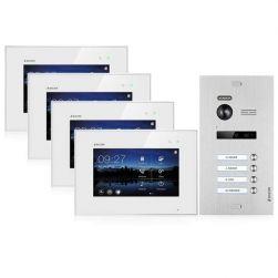 Balter EVO SILVER Video-Türsprechanlage 7 Touchscreen 2-Draht BUS Komplettsystem für 4 Teilnehmer