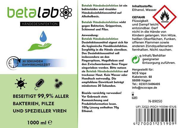 Beta Lab Händedesinfektionsmittel 1L (1000ml)