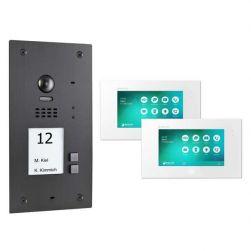 BALTER EVIDA Graphit RFID Edelstahl 2-Draht BUS Video Türstation 7 Monitor 2 Familienhaus Set
