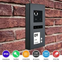 Preview: Balter ERA Graphit RFID 2-Draht IP 7 WiFi Video Türstation Aufputz iOS Android Set 2 Familienhaus