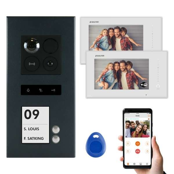 Balter ERA Graphit RFID 2-Draht IP 7 WiFi Video Türstation Aufputz iOS Android Set 2 Familienhaus