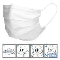 Vorschau: 50er Satz Mundschutz Atemschutzmaske Mund-Nasen-Schutz 3-lagig Schutzmaske Weiß
