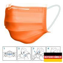 Preview: 50er Satz Mundschutz Atemschutzmaske Mund-Nasen-Schutz 3-lagig Schutzmaske Orange