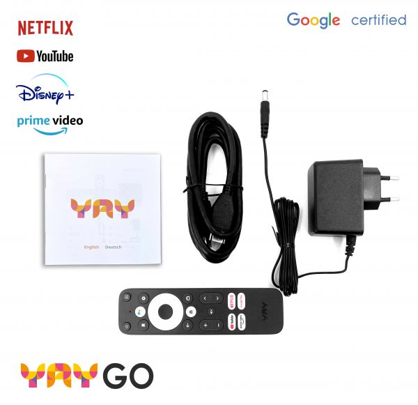 YAY GO Android TV HIGH-END 4K UHD Streaming Box Android 10.0 und Chromecast integriert
