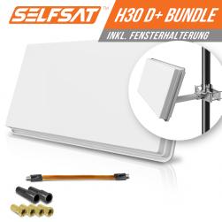 Selfsat H30D1+ 1 TV Teilnehmer SAT Flachantenne FLAT + profi Fensterdurchführung FULL HD