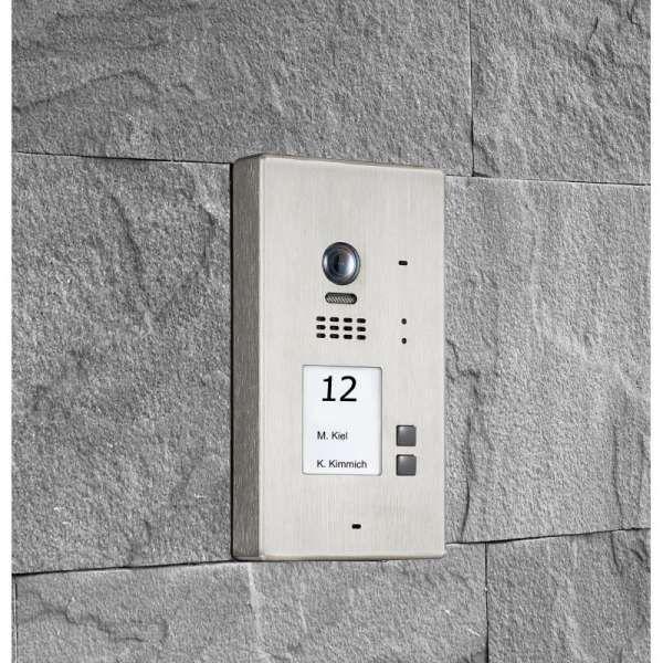 BALTER EVIDA Silber RFID Edelstahl-Türstation 2 Teilnehmer 2-Draht BUS 170° Kamera Aufputz