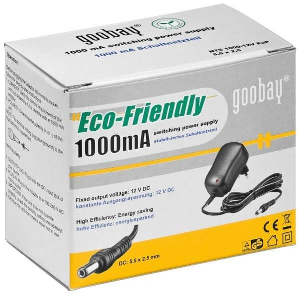 Goobay Netzteil 12V DC 1.0A 12W für HD-SDI / IP Kameras