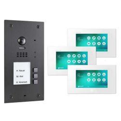BALTER EVIDA Graphit RFID Edelstahl 2-Draht BUS Video Türstation 7 Monitor 3 Familienhaus Set