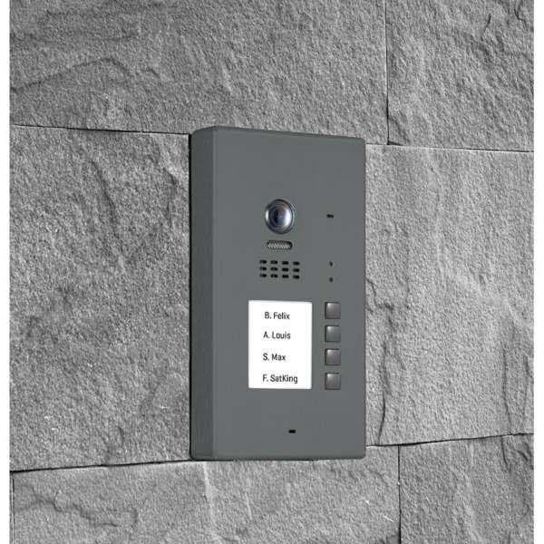BALTER EVIDA Graphit RFID Edelstahl-Türstation 4 Teilnehmer 2-Draht BUS 170° Kamera Aufputz