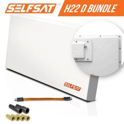 Selfsat H21D1+ 1 TV Teilnehmer SAT Flachantenne FLAT + profi Fensterdurchführung FULL HD