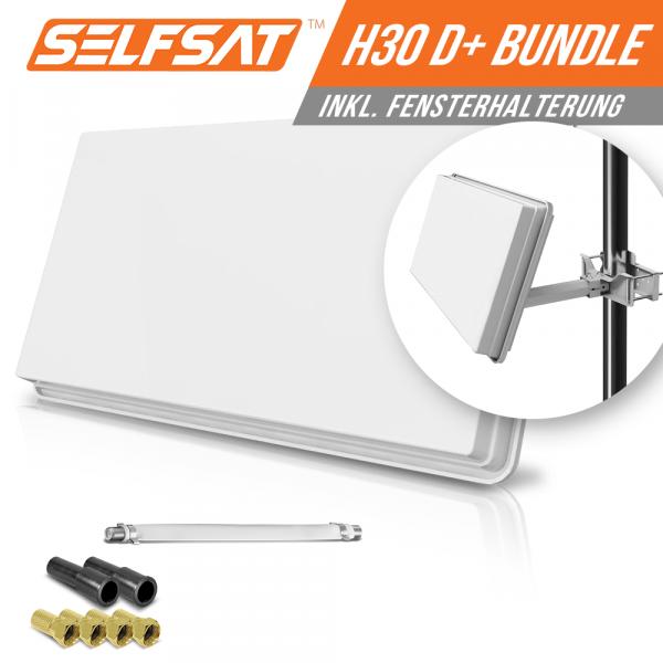 Selfsat H30D1+ 1 TV Teilnehmer SAT Flachantenne FLAT + Fensterdurchführung FULL HD