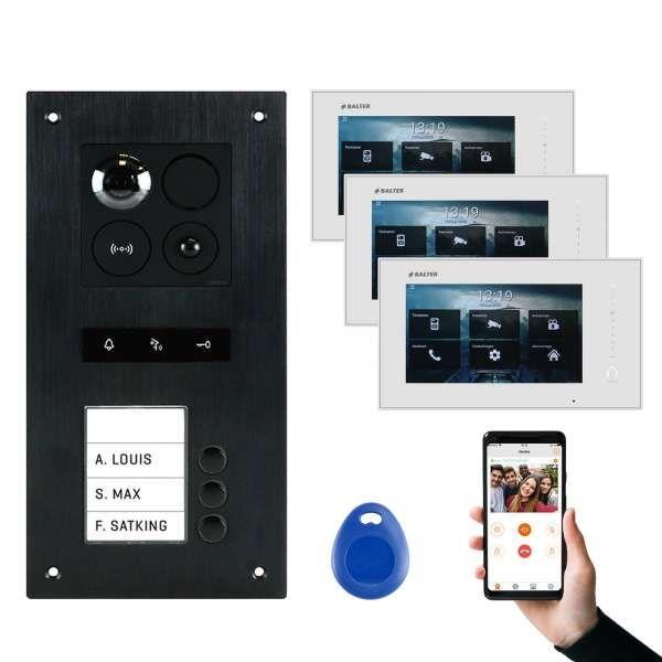 BALTER ERA Schwarz RFID 2-Draht BUS IP 7 WiFi Video Türstation iOS Android App für 3 Familienhaus