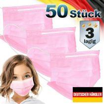 Vorschau: 50er Satz Kinder Mund-Nasen-Schutz 3-lagig Mundschutz Gesichtsmaske für Kinder Pink
