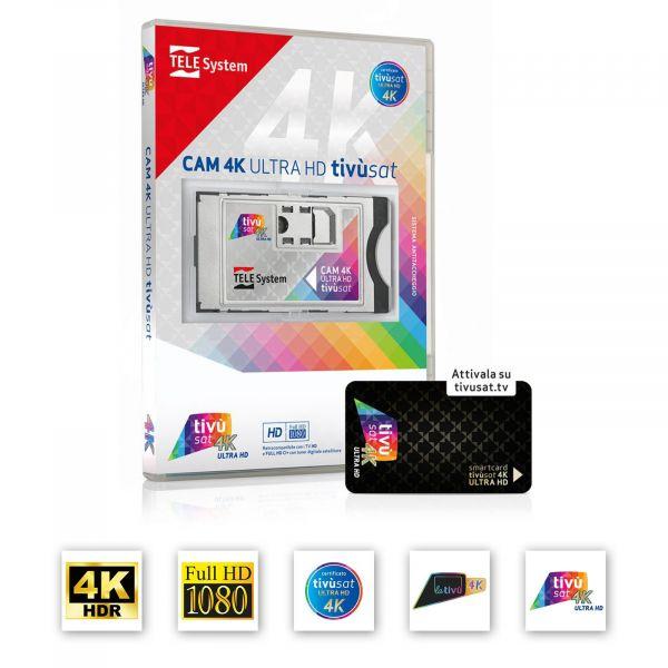 TiVusat Telesystem SmarCam 4K ULTRA HD CI+ inkl. Schwarz Smartkarte