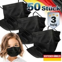 50er Satz Kinder Mund-Nasen-Schutz 3-lagig Mundschutz Gesichtsmaske für Kinder Schwarz