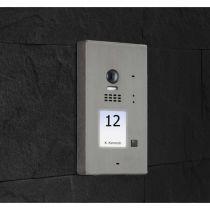 Preview: BALTER EVIDA Silber RFID Edelstahl 2-Draht BUS Video Türstation Aufputz 1 Familienhaus Set