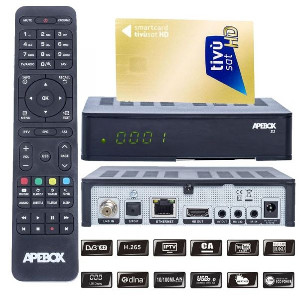 Apebox S2 Full HD H.265 LAN DVB-S2 Sat Receiver mit HD TIVUSAT Karte aktiviert