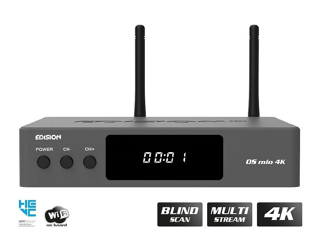 Edision OS mio 4K UHD Receiver DVB-S2X + DVB-T2/C grau