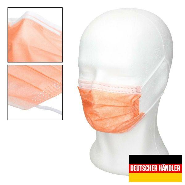 50er Satz Mundschutz Atemschutzmaske Mund-Nasen-Schutz 3-lagig Schutzmaske Orange