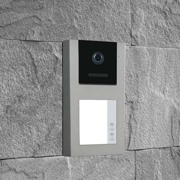 Balter EVO-AP Silber Quick Video Türsprechanlage 2-Draht BUS RFID Aufputz Set für 2 Familienhaus