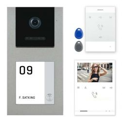 Balter EVO-AP Silber Video Türsprechanlage Quick-Talk RFID Intercom 2-Draht BUS Set für 1 Teilnehmer