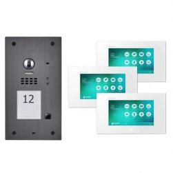 Balter Graphit EVIDA RFID 2-Draht BUS Video Türstation 3x7 Monitore Set für 1 Familienhaus