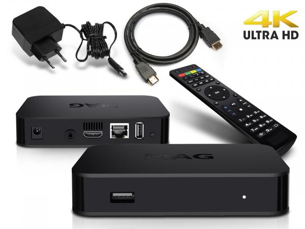 MAG 420 IP TV Internet Streamer HEVC H.265 4K UHD 60FPS Linux USB 3.0 LAN HDMI