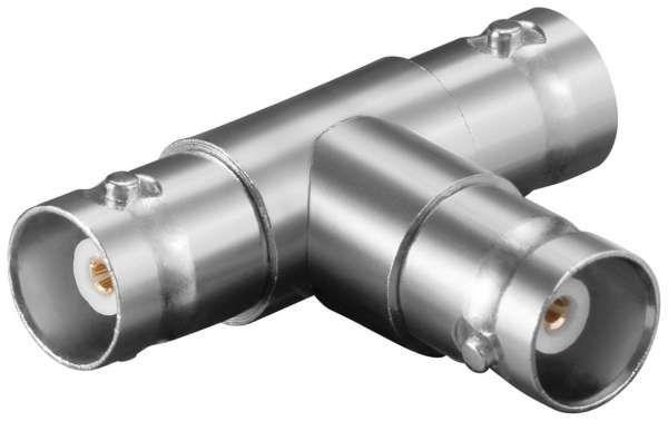 BNC-Kupplung auf 2x BNC-Kupplung T-Adatper mit Goldkontakten