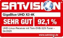 Preview: GigaBlue HD X3 4K 2x DVB-S2X FBC Tuner E2 Linux UHD Receiver
