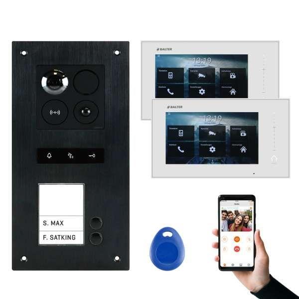 BALTER ERA Schwarz RFID 2-Draht BUS IP 7 WiFi Video Türstation iOS Android App für 2 Familienhaus