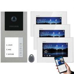 Balter EVO-AP Silber Video Türsprechanlage 7 WiFi Touchscreen RFID 2-Draht BUS Set für 3 Teilnehmer
