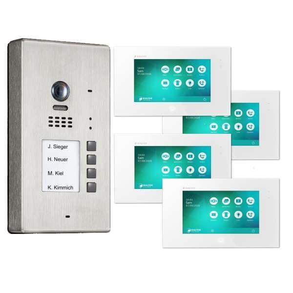 BALTER EVIDA Silber RFID Edelstahl 2-Draht BUS Video Türstation Aufputz 4 Familienhaus Set