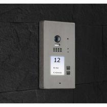 Preview: BALTER EVIDA Silber RFID Edelstahl-Türstation 2 Teilnehmer 2-Draht BUS 170° Kamera Aufputz