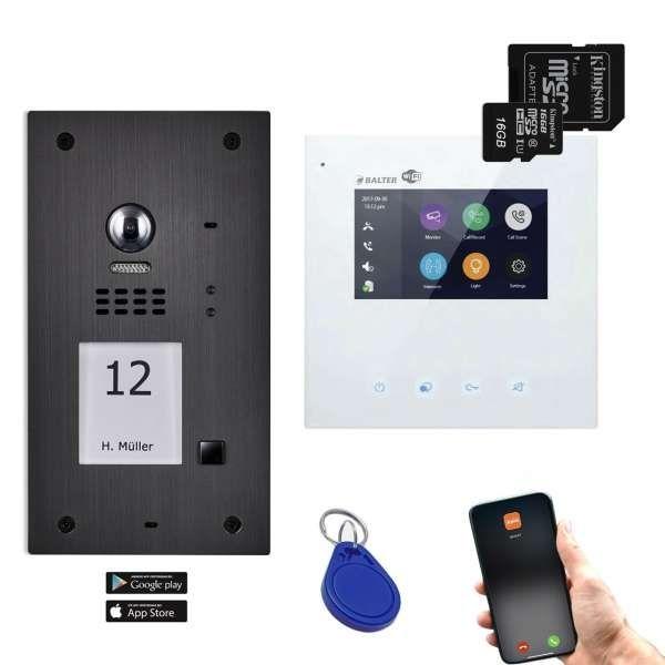 BALTER EVIDA Graphit RFID Edelstahl BUS Video Türstation 4.3 Wifi APP 1 Teilnehmer