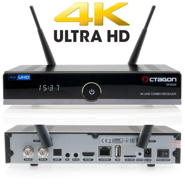 Octagon SF8008 4K UHD 2160p H.265 HEVC E2 Linux Dual Wifi Twin DVB-S2X Receiver