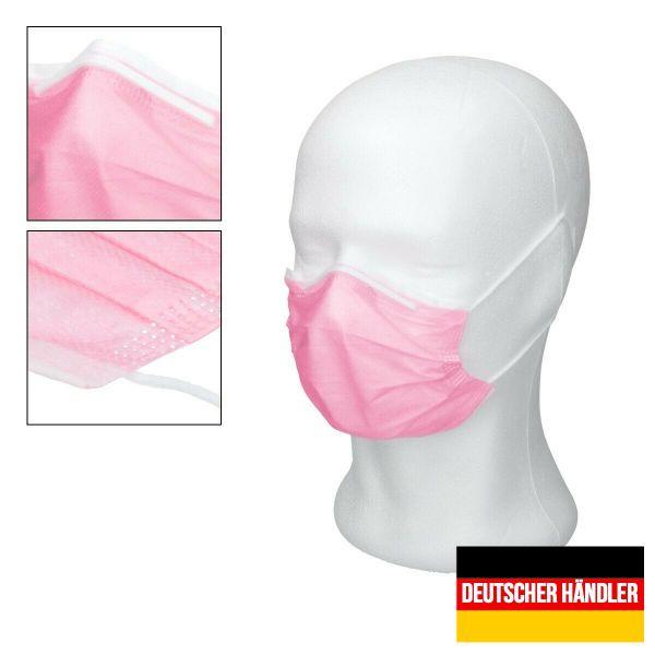 50er Satz Mundschutz Atemschutzmaske Mund-Nasen-Schutz 3-lagig Schutzmaske Rosa