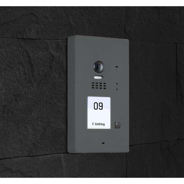 BALTER EVIDA Graphit RFID Edelstahl 2-Draht BUS Video Türstation Aufputz 1 Familienhaus Set