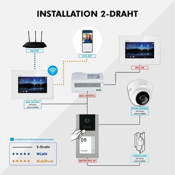 Balter EVO-AP Silber Video Türsprechanlage 7 Touchscreen RFID 2-Draht BUS Set für 3 Familienhaus