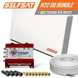 Selfsat H21DQ 4 TV Teilnehmer SAT Flachantenne FLAT + Multischalter 5/4 + Koaxkabel FULL HD 4K