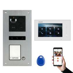 BALTER ERA Silber RFID 2-Draht BUS IP 7 WiFi Video Türstation iOS Android App für 1 Familienhaus