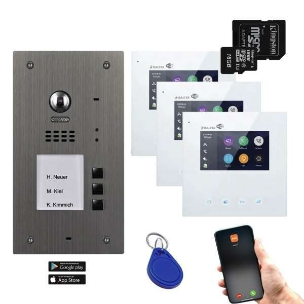 BALTER EVIDA Silber RFID Edelstahl BUS Video Türstation 4.3 Wifi APP 3 Teilnehmer