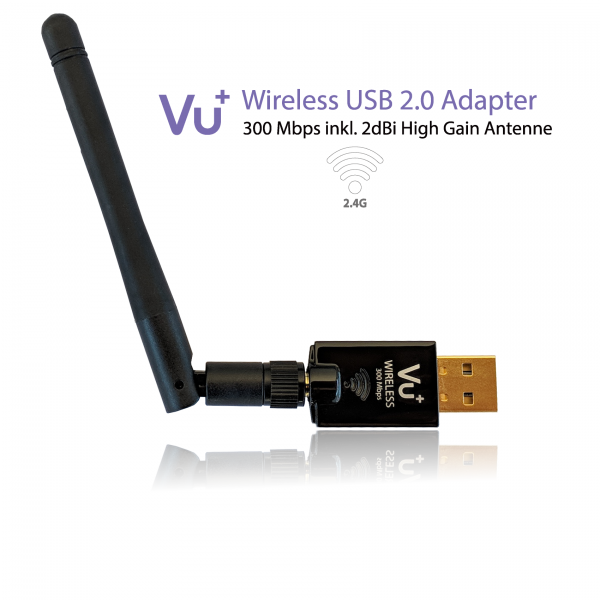 VU+® Wireless USB 2.0 Adapter 300 Mbps inkl. Antenne
