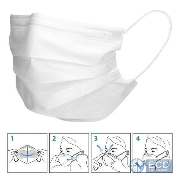 50er Satz Mundschutz Atemschutzmaske Mund-Nasen-Schutz 3-lagig Schutzmaske Weiß